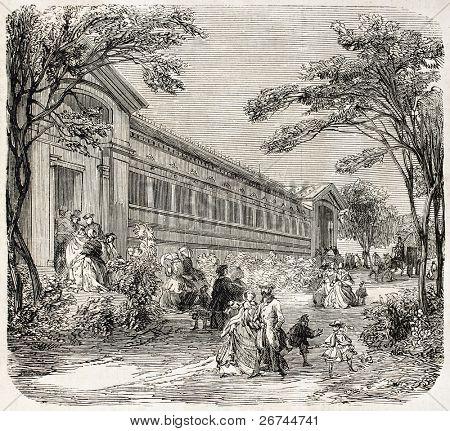 Aquarium exterior in the Jardin d'Acclimatation, Paris. Created by Provost, published on L'Illustration, Journal Universel, Paris, 1860