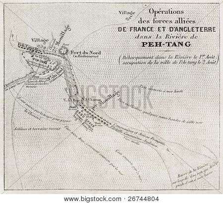 Old military map of French-British allied forces settlement in Beitang, China. Created by Jaures, Roux and De Baune,  published on L'Illustration, Journal Universel, Paris, 1860