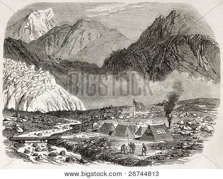 Swiss army encampment in Furka pass, canton Valais, Switzerland. Created by Blanchard, published on L'Illustration, Journal Universel, Paris, 1860