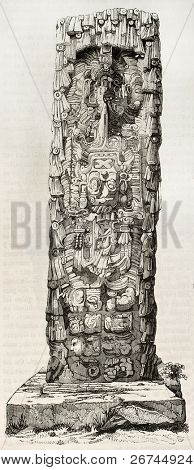 Copan pillar old illustration, Honduras. By unidentified author, published on Magasin Pittoresque, Paris, 1843