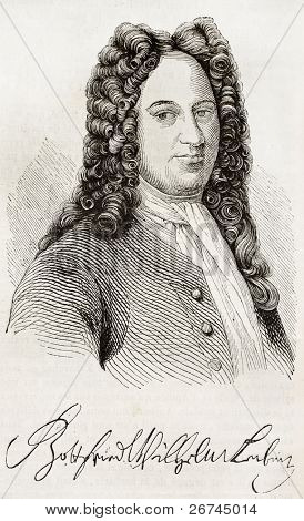 Gottfried Leibniz old engraved portrait and signature. After engraving of Gruzmaker, published on Magasin Pittoresque, Paris, 1843