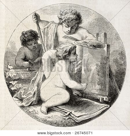 Painting, old allegoric representation. After painting of Hedouin, published on L'Illustration, Journal Universel, Paris, 1860