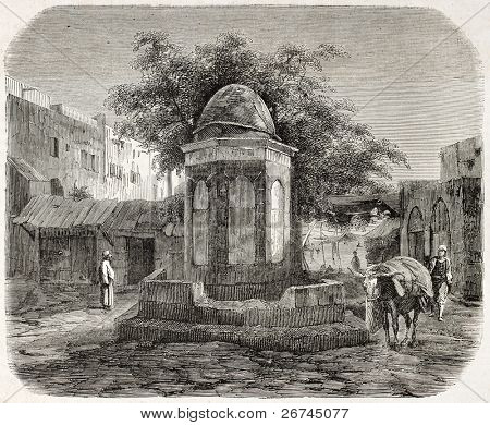 Arab fountain in the wheat market square, Beirut. By unidentified author, published on L'Illustration, Journal Universel, Paris, 1860
