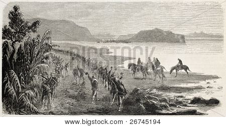 Sicilian volunteers of Garibaldi army on the beach in Palermo surroundings. Created by Worms, published on L'Illustration, Journal Universel, Paris, 1860