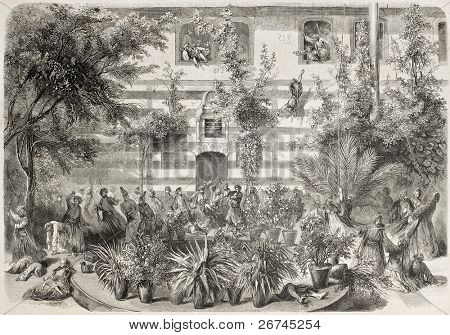 Druzes massacring Maronites in French consulate court in Damascus. Created by Blanchard after photo of Clercq, published on L'Illustration, Journal Universel, Paris, 1860