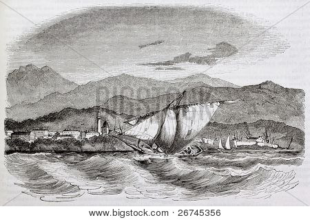 Seaport of Ajaccio old view. Created by Morel-Fatio, published on Magasin Pittoresque, Paris, 1844