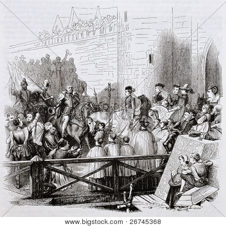 Sedan knights and soldiers coming back after Douzy battle, old illustration. Created by Philippoteaux after Girardet, published on Magasin Pittoresque, Paris, 1844