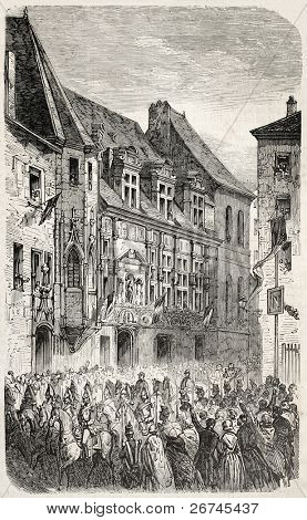 Napoleon III and Empress Eugenie procession in front of Grenoble Palace of Justice, France. Created by Gaildrau,  published on L'Illustration, Journal Universel, Paris, 1860