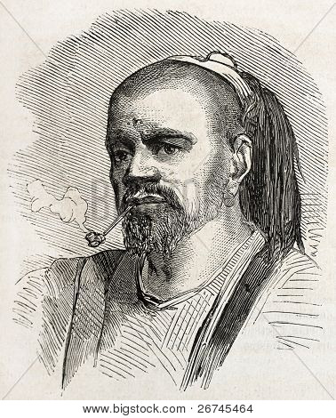 Druze man old engraved portrait. By unidentified author, published on L'Illustration, Journal Universel, Paris, 1860