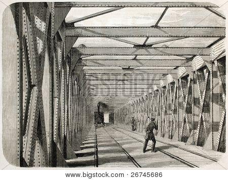 Train transit on railway iron bridge over the Garonne in Bordeaux, France. Created by Gaildrau, published on L'Illustration, Journal Universel, Paris, 1860