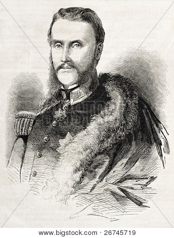 Alexandru Ioan Cuza old engraved portrait. Created by Bayard, published on L'Illustration, Journal Universel, Paris, 1860