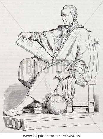 Pierre-Simon Laplace statue old illustration, French mathematician and astronomer. Created by Gstaal after sculpture of Garraud, published on Magasin Pittoresque, Paris, 1844