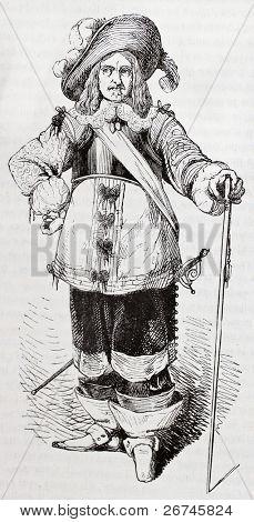 Francois de Vendome, duc de Beaufort, old engraved portrait. Created by Montigneul, published on Magasin Pittoresque, Paris, 1844