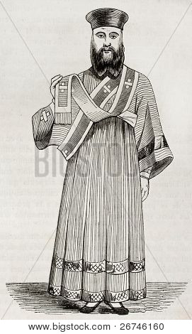 Old illustration of Greek orthodox deacon vestment. Created by Durand, published on Magasin Pittoresque, Paris, 1844