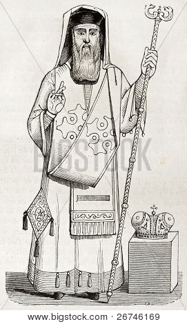 Old illustration of Greek orthodox bishop vestment. Created by Durand, published on Magasin Pittoresque, Paris, 1844