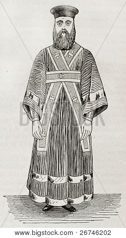 Old illustration of Greek orthodox lower deacon vestment. Created by Durand, published on Magasin Pittoresque, Paris, 1844
