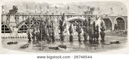 Railway bridge over the Pisuerga river near Valladolid, Spain. Created by Godefroy-Durand, published on L'Illustration, Journal Universel, Paris, 1858