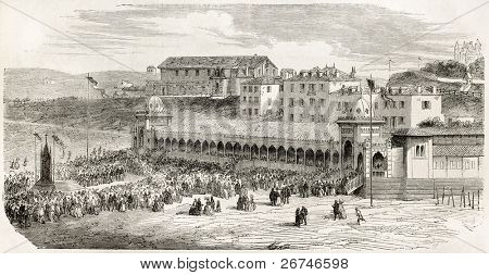 Bathing establishment in Biarrtitz. Created by Gaildrau after photo of De Bayonne, published on L'Illustration, Journal Universel, Paris, 1858