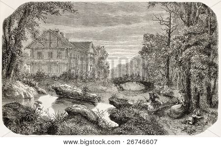 Bois de Vincennes old view, Paris surroundings. Created by Peyronnet, published on L'Illustration, Journal Universel, Paris, 1858