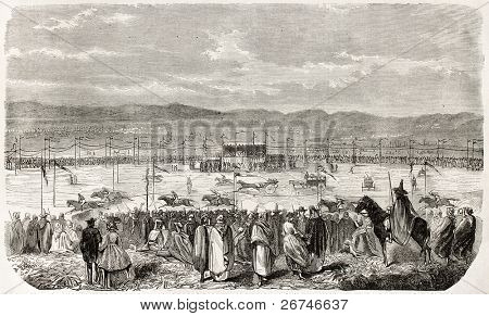 Mascara racecourse old illustration, Algeria. Created by Foulon, published on L'Illustration, Journal Universel, Paris, 1858