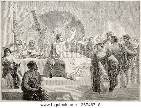 Roman addressing people during dinner. Created by Levy, published on L'Illustration, Journal Universel, Paris, 1858