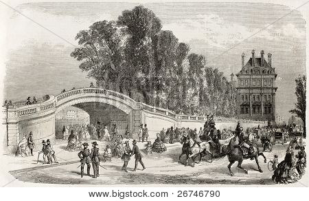 Tuileries garden gate old illustration, Paris. Created by Provost, published on L'Illustration, Journal Universel, Paris, 1858