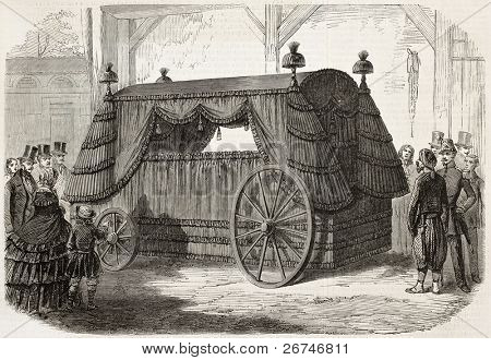 Napoleon funeral carriage old illustration. Created by Gaildrau,  published on L'Illustration, Journal Universel, Paris, 1858