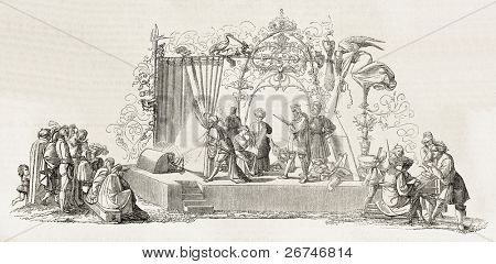 Peter Cornelius composition for the Faust frontispiece. Engraved by Jourdain, published on L'Illustration, Journal Universel, Paris, 1858
