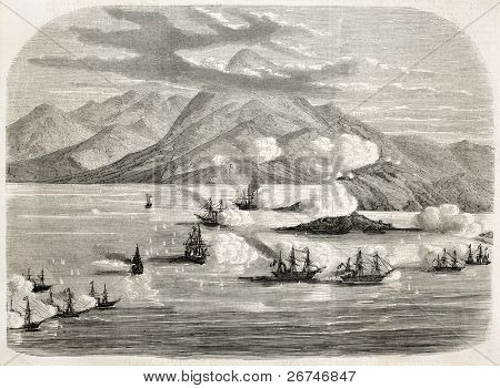 Tourane bay (today Da Nang) bombing by French fleet, China. Created by Lebreton, published on L'Illustration, Journal Universel, Paris, 1858