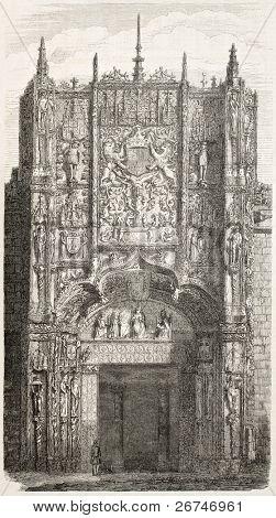 Colegio de San Gregorio portal, Valladolid. Created by Marc,  published on L'Illustration, Journal Universel, Paris, 1858