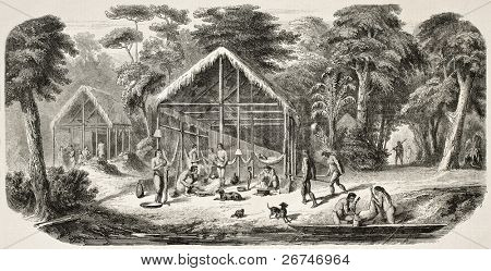 Caribbean village in Dutch Guyana. Created by Worms after Bray, published on L'Illustration, Journal Universel, Paris, 1858
