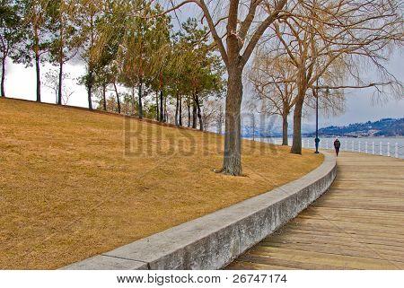 Okanagan lakeside boardwalk in Kelowna, Canada.