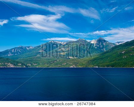 Majestic view at Kootenay lake in British Columbia, Canada.