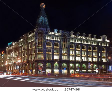 Gorgeous night view at Nevsky prospect in Saint Petersburg, Russia