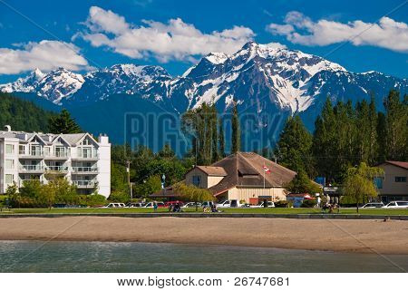 Lakeview condo over gorgeous mountains in Harrison Hot Springs, British Columbia.