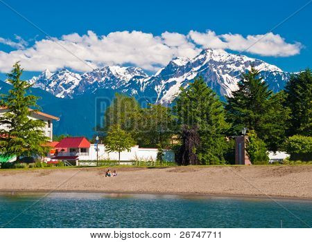 Lakeview condo over gorgeous mountain in Harrison Hot Springs, British Columbia, Canada.