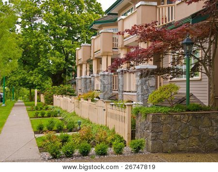 Friendly neighborhood of townhouses in North Vancouver, Canada.