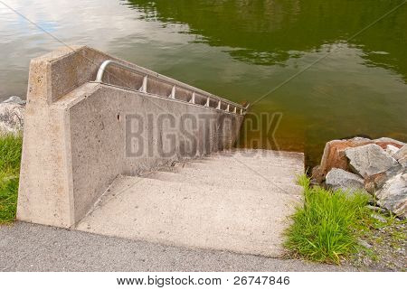 Diving stairways at Porteau Cove park, Vancouver, Canada.