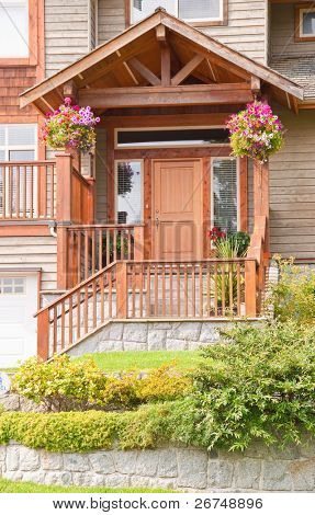 Entrance of townhouse in North Vancouver, Canada.