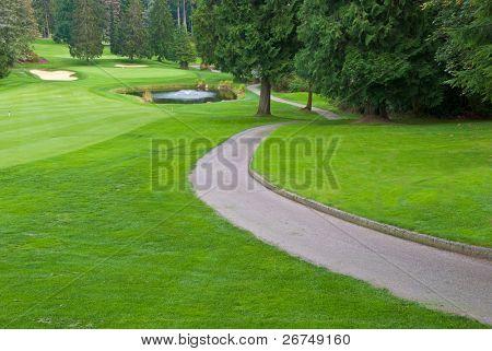 Lugar de golfe com lindo verde, caminho curvo e lagoa.