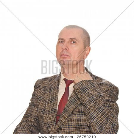 A businessman pulling his collar. Isolated on white. Body language. Manifest of telling untruth.