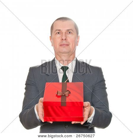 A man showing beautiful red gift box isolated on white.