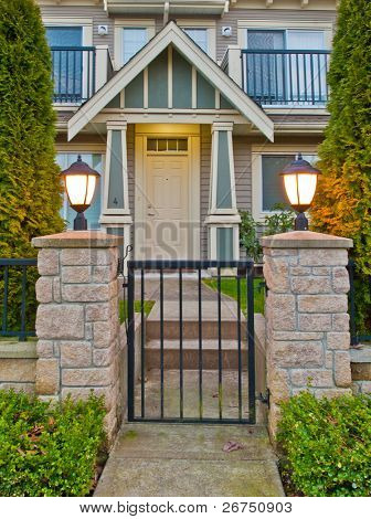 Entrance of a townhouse at dusk at Vancouver, Canada.
