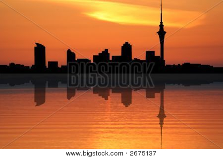 Auckland Skyline At Sunset