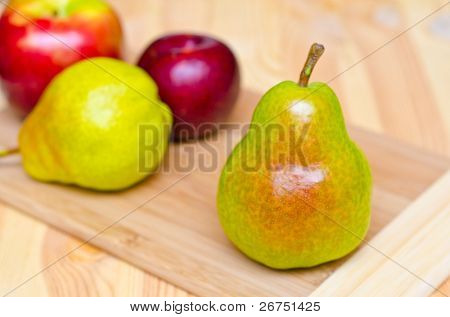 Fresh organic pears and apple.