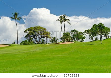 Tropical golf Coloque com verde lindo e belas nuvens brancas sobre vista do céu azul