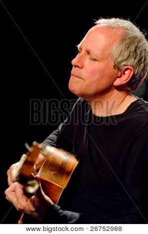 "VANCOUVER, CANADA - MAY 27: Jennifer Scott Sextet performs ""Brasiliera"". Bill Coon (guitar) on the stage of The Jazz Cellar on May 27, 2011 in Vancouver, Canada."