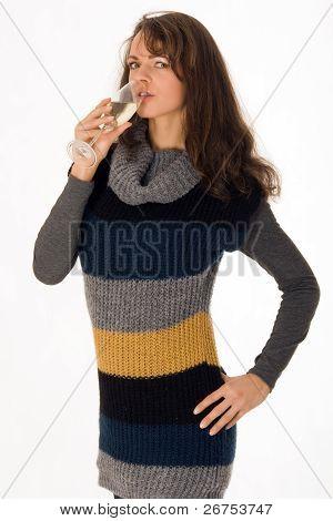 Mulher elegante com uma Taça de champanhe