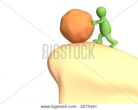 3D Person - Puppet A Pushing Stone To A Chasm
