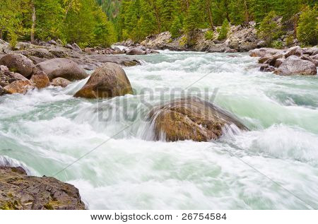 Gorgeous mountain river on Remote Camp trail at Stein Valley Heritage Park in British Columbia, Canada.